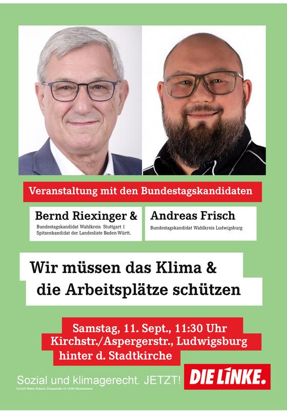 11. September in Ludwigsburg: Wir müssen das Klima & die Arbeitsplätze schützen